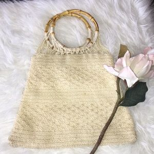 Vintage cream crochet handbag